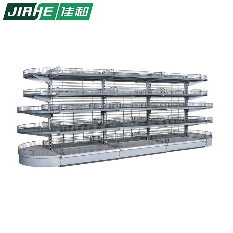 Double Sided Supermarket Shelf with Wire Shelf Shelving System Used in Supermarket