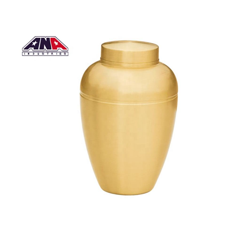 ANA funeral supplier cheap gold metal stainless adult urn shape casket human cremation urns for Ashes adult