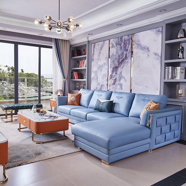 Factory Provided Modern Sectionals Luxury Living Room Furniture Leather Blue Sofa Set