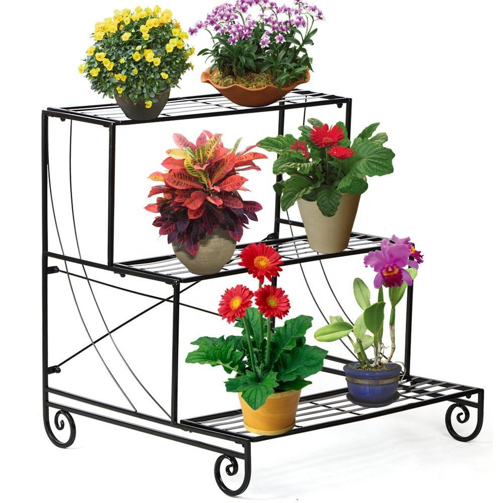Garden Decorative Planter Holder Flower Pot Shelf Rack 3 Tier Metal Plant Stand Black