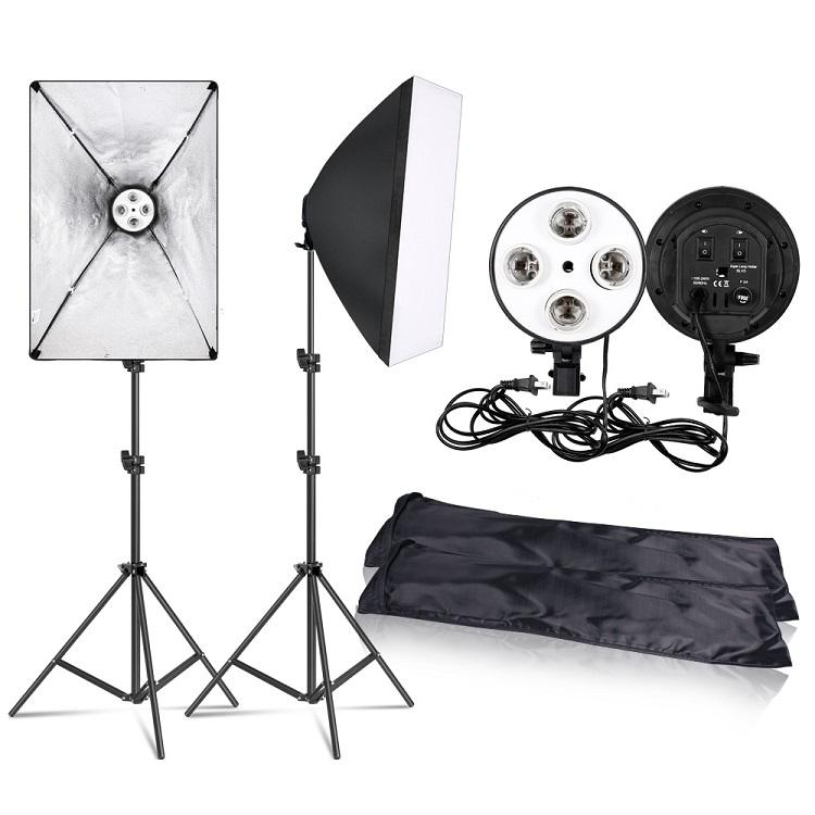 Fotografía 50x70CM iluminación cuatro lámpara Softbox Kit con E27 Base titular Soft Box Cámara accesorios para foto estudio Video