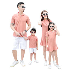 2019 Summer New Design Solid Color Polo T-shirt Women Dress Family Matching Clothing Set