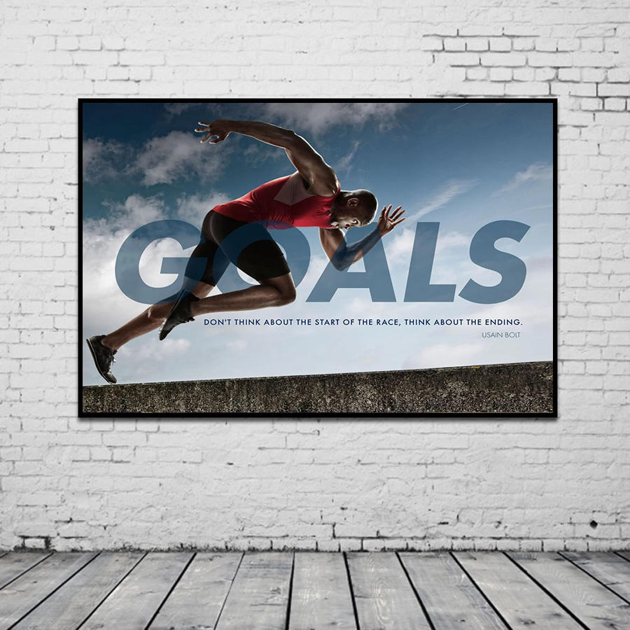 Motivational Quotes GOALS Canvas Painting THINK ABOUT THE ENDING Player Wall Art for Home Decoration