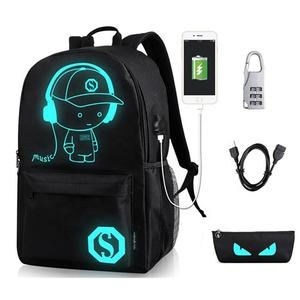 Fashion cartoon screen printing luminous bagpack charging backpack with anti-theft lock