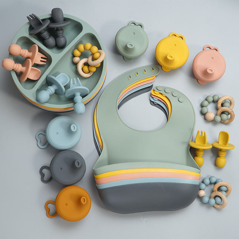 Washable Food Grade Silicone Baby Bibs Soft Silicone Plate Set Waterproof Silicone Teether