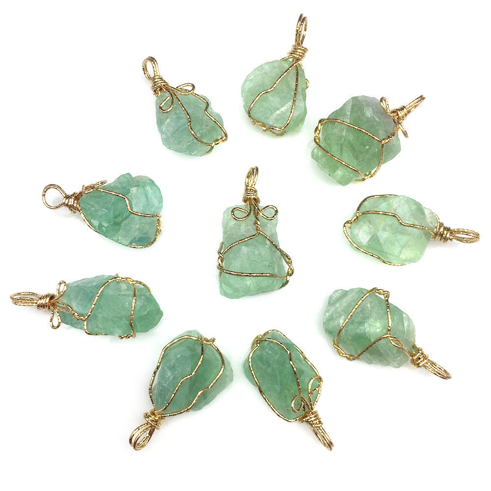 Gold Plated Wire Wrapped Natural Green Fluorite Pyramid Shape Pendant for Necklace Making
