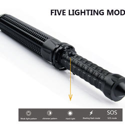 Super Torch telescopic baton for self defense flashlight 18650 battery rechargeable car lamp waterproof zoom no electric shock