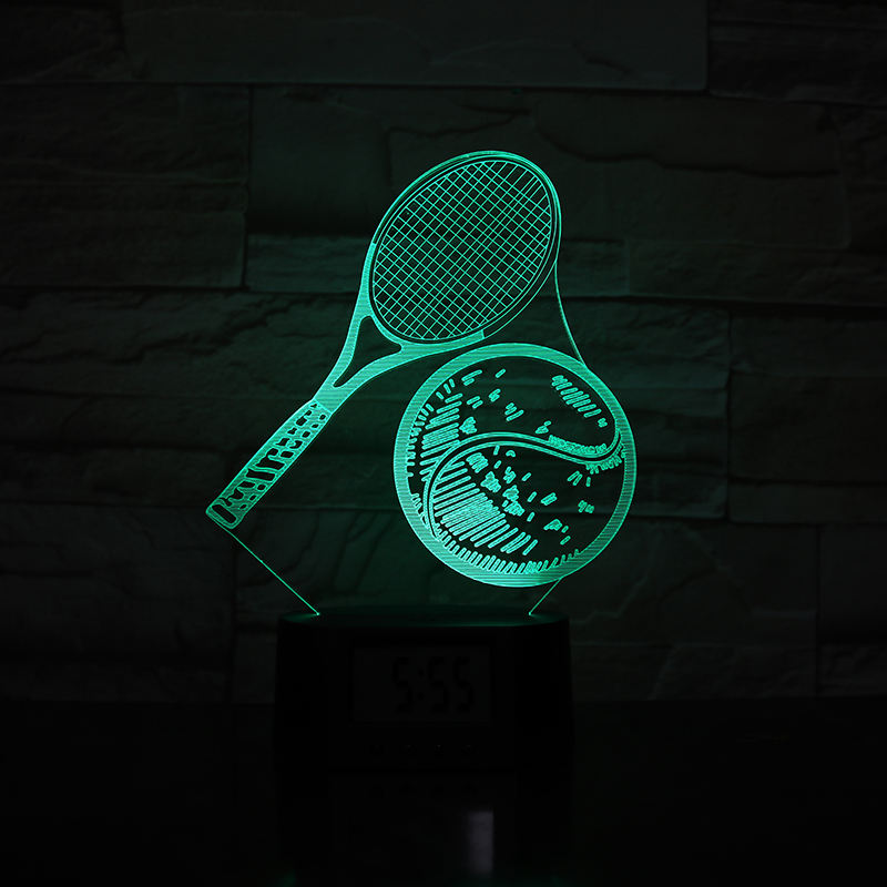 New Design Eco-friendly Home Decor Tennis LED Illusion Lamp 3D Night Light With Alarm Clock