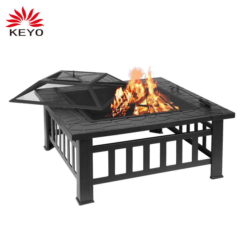 Outdoor Fire pit Metal Firepit Square Table Garden Wood Burning Fire Pit with Spark Screen
