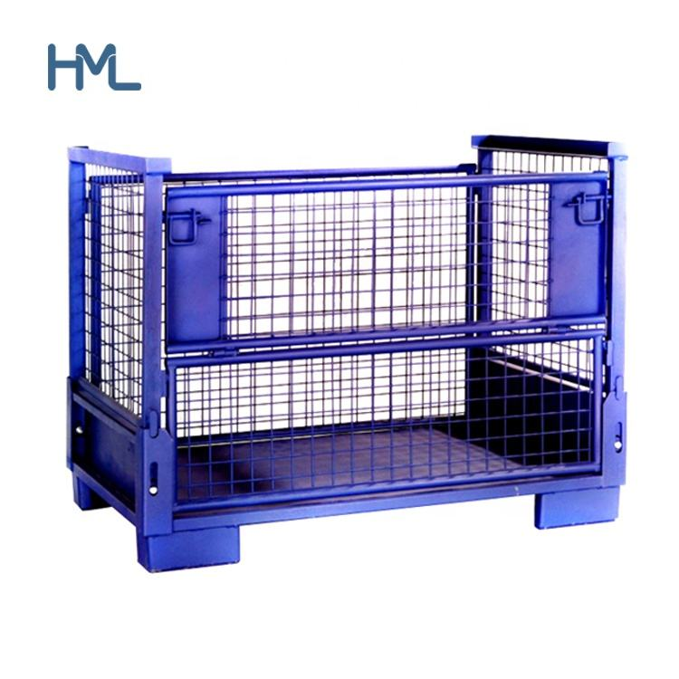 Heavy duty industrial warehouse storage foldable collapsible stacking wire mesh steel pallet metal stillage container