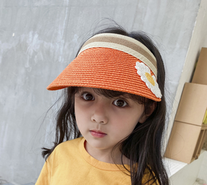 AAA217 Cute Korea Style Outdoor Visor Cap Fashion Dress Sun Hats Empty Top Summer Parent-child straw hat