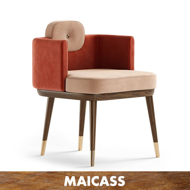 Solid Wood Legs Modern Luxury Dining Restaurant Chairs