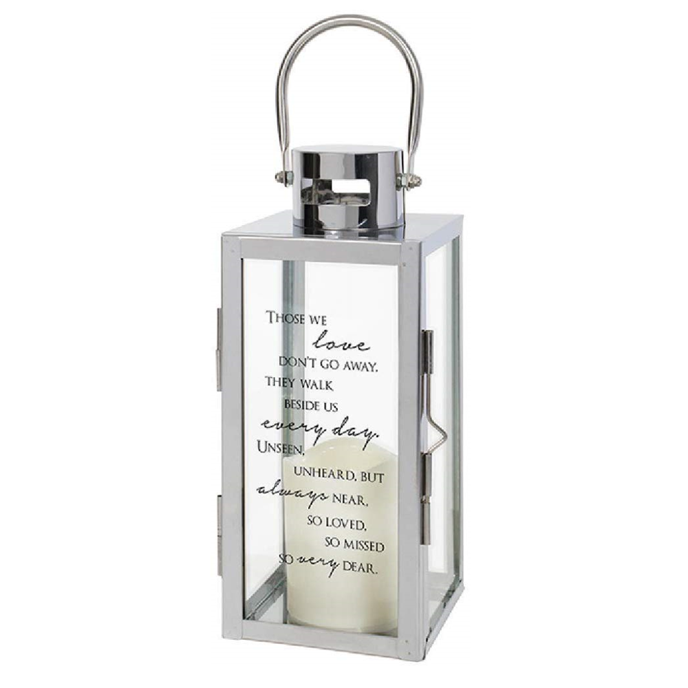 The Bridge Collection Etched Glass Memorial Lantern with Flameless LED Candle Lanterns