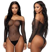 SeeThrough Bodysuit Sheer Mesh Femme Hot Transparent Shiny Sequin Fishnet Women Sexy Lingerie