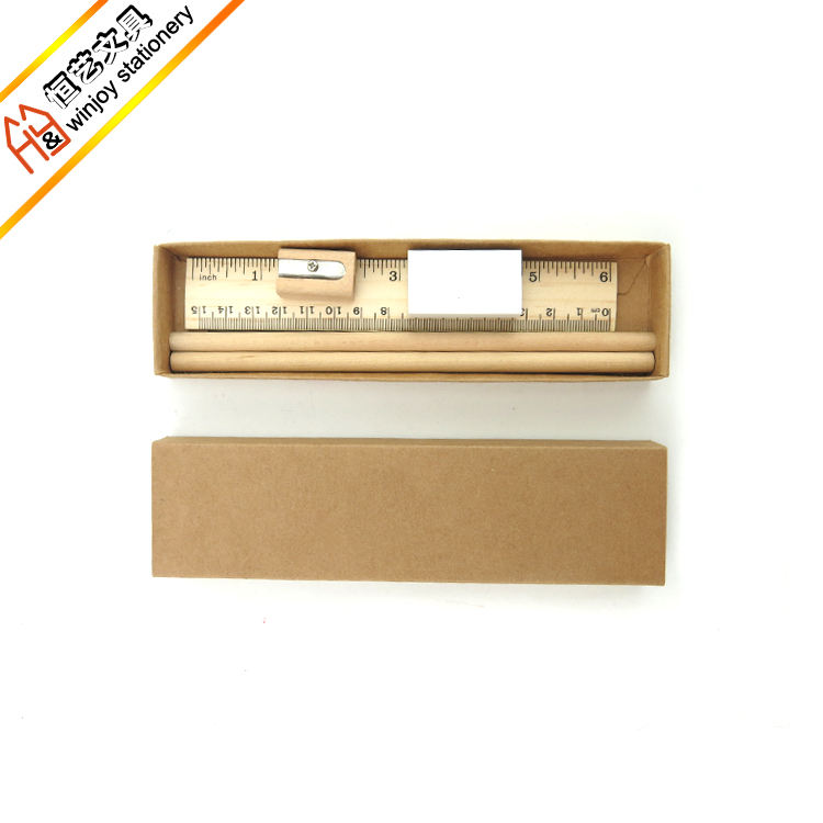 Eco friendly stationery set ruler eraser pencil and sharpener in a kraft box