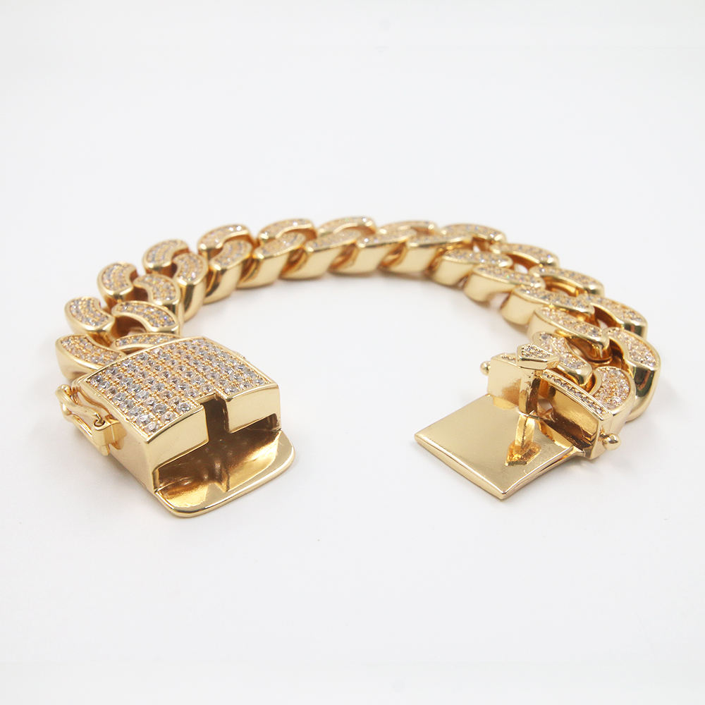 Fashion Unisex Polished paved AAA zircons gold plated glitter link chain bracelet charm bracelet