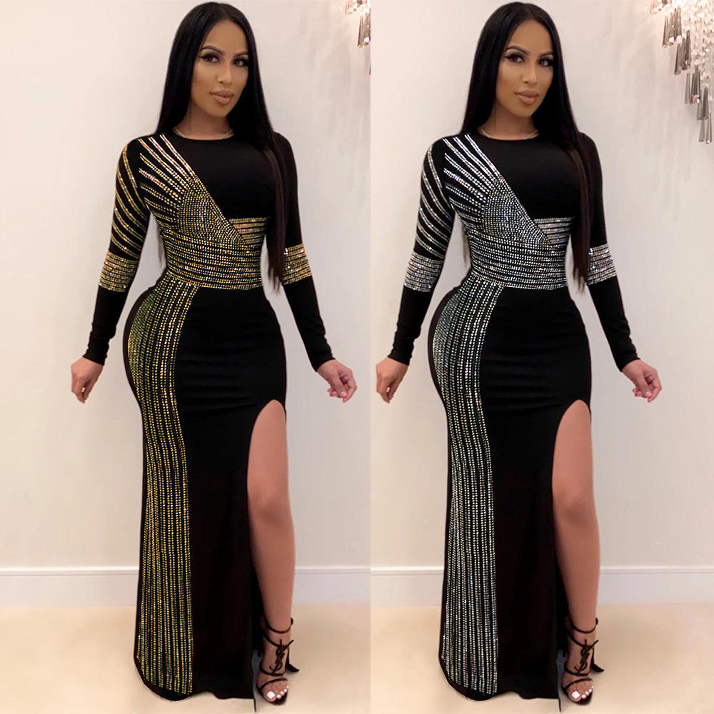 Dresses Fashion Rhinestone Women Sequins Long Sleeve Split High Slit Maxi Bodycon Party Ball Gown Formal Dress