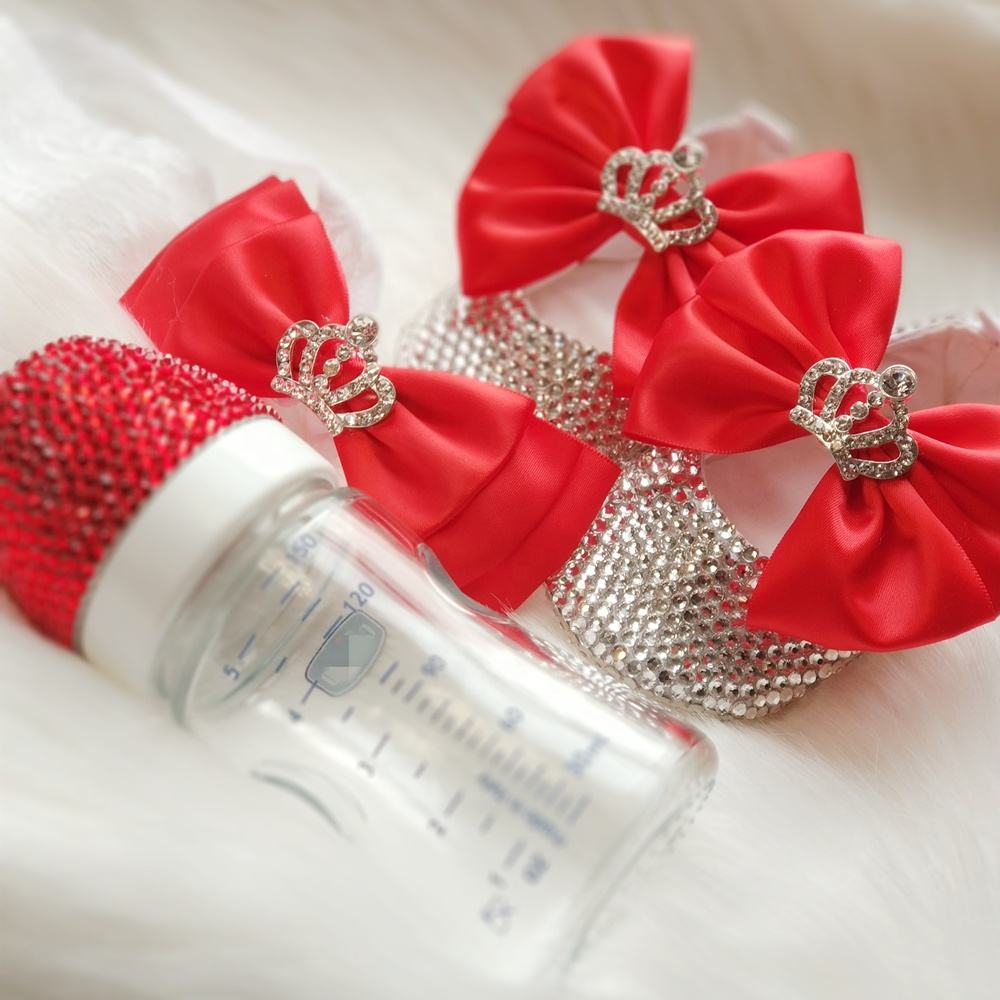 Latest Red Butterfly Crown Princess Baby Girl Crystal Ballerina Flat Shoes with Baby Infant Milk Bottle for Gift Set