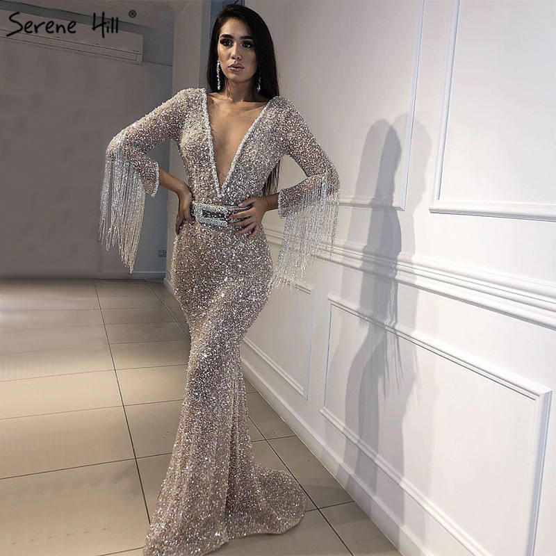 Deep V Long Tassel Beaded Sparkly Women Modest Sexy Cocktail Evening Dress Bling Ball Gowns For Prom Night Serene Hill LA60770
