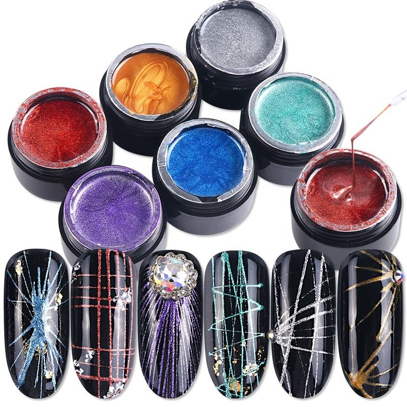 8ml Nail Art Copper Wire Gel Painting Creative UV Gel Polish Liner Drawing Elasticity Point Line Soak Off Gel Spider Varnish