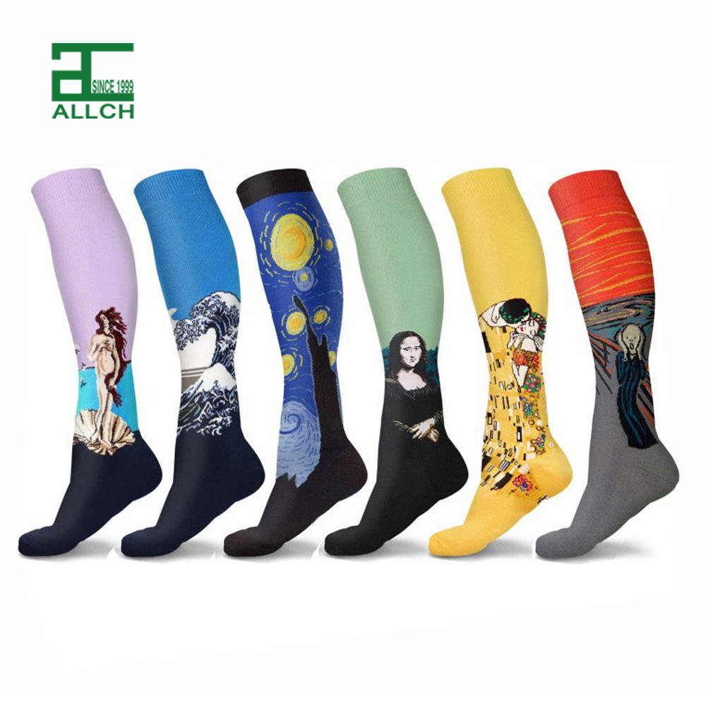ALLCH RTS OEM Wholesale Fashion Custom Design Designer Design Spandex Nylon Retro Compression Men Sports Socks