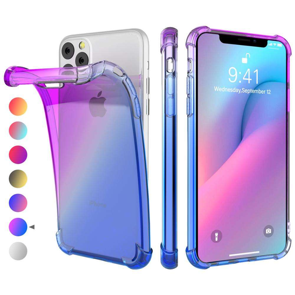 Colorful Gradient Phone Case For iPhone 11 Ultra Clear Thin Cases Soft TPU Cover