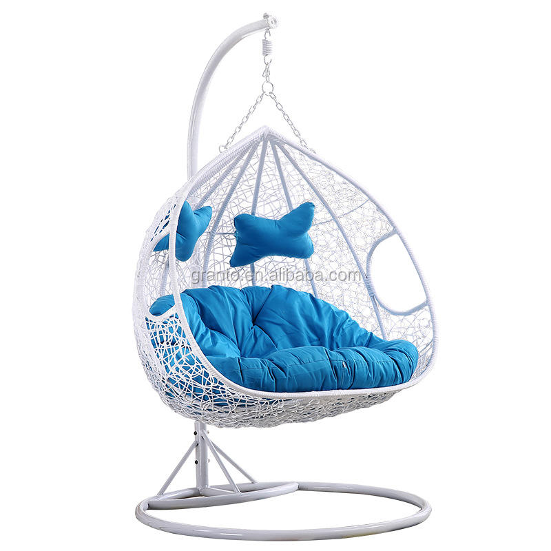 Beautiful design outdoor garden furniture double swing chair iron frame rattan hanging chair