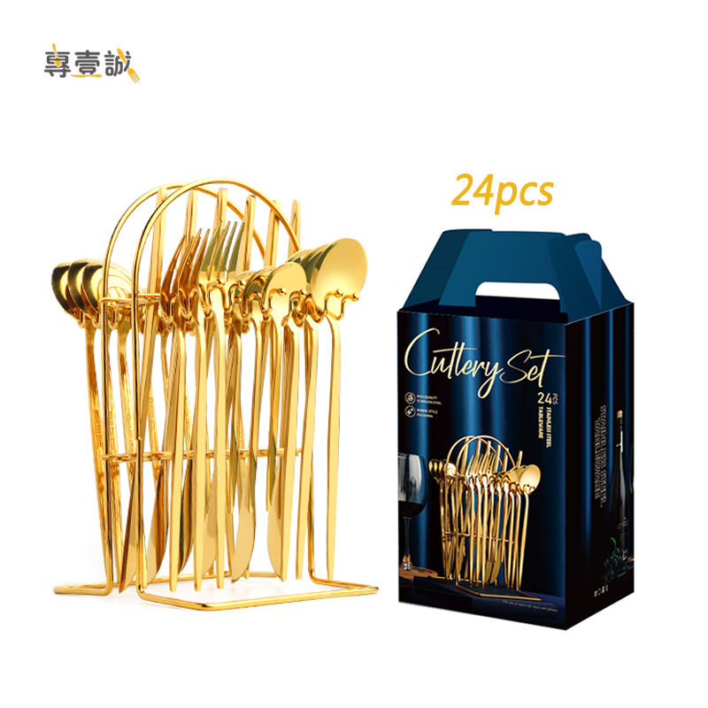 Hot sale flatware set gift box gold spoon and fork stainless steel cutlery set 24pcs