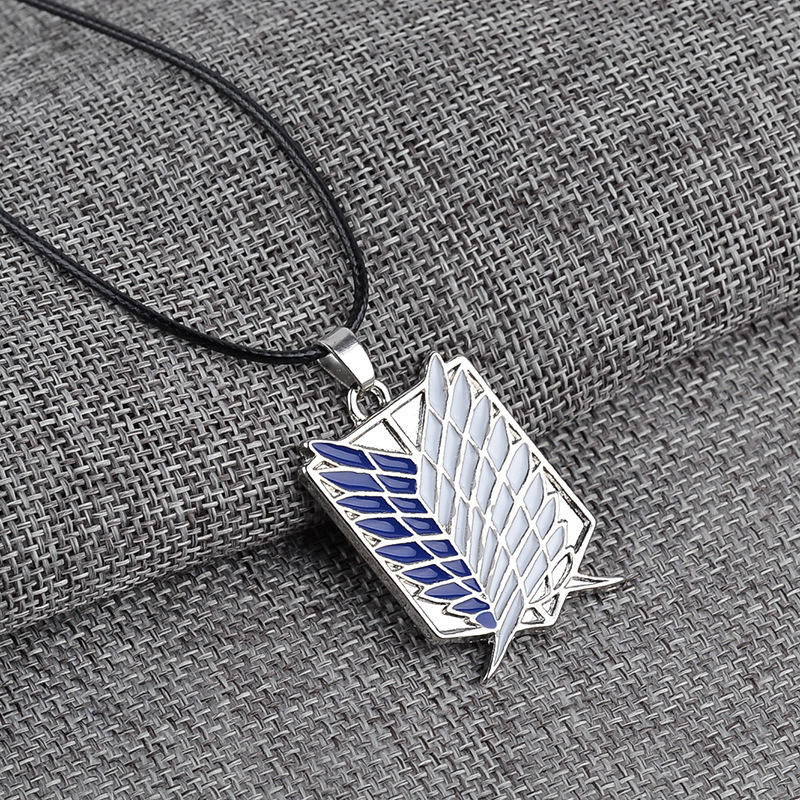 Wholesale Silver Gold Necklace Pendant Wing Metal Attack On Titan Necklace