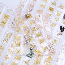 Imagnail wholesale stock gold 12 design kit 3d metal nail art for Nail Metal Rivets Charms 3D Nail Art Decoration stud