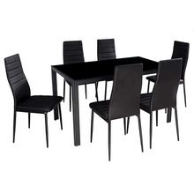 7 Piece Glass Kitchen Dining Table Set Glass Top Table with 6 Faux Leather Chairs Dining Room Furniture Black White