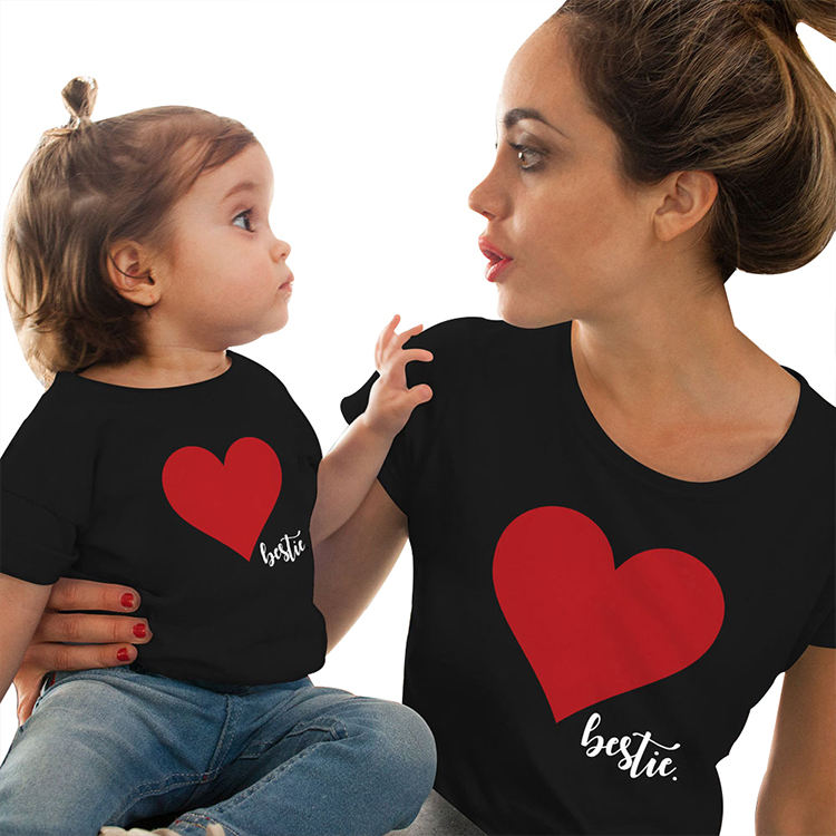 Best selling 2020 100 cotton matching sets clothing outfits t shirt for family heart printing mom and daughter matching clothes