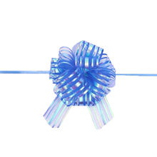 Hot sale 4 inch White Iridescent Rainbow Organza Striped New Material Pom Pom Pull Bow