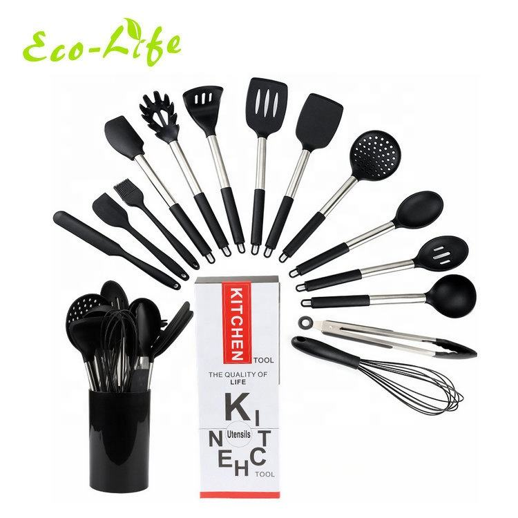 15 pieces Kitchen Cooking Tools Stainless Steel Handle Silicone Kitchen Utensils set