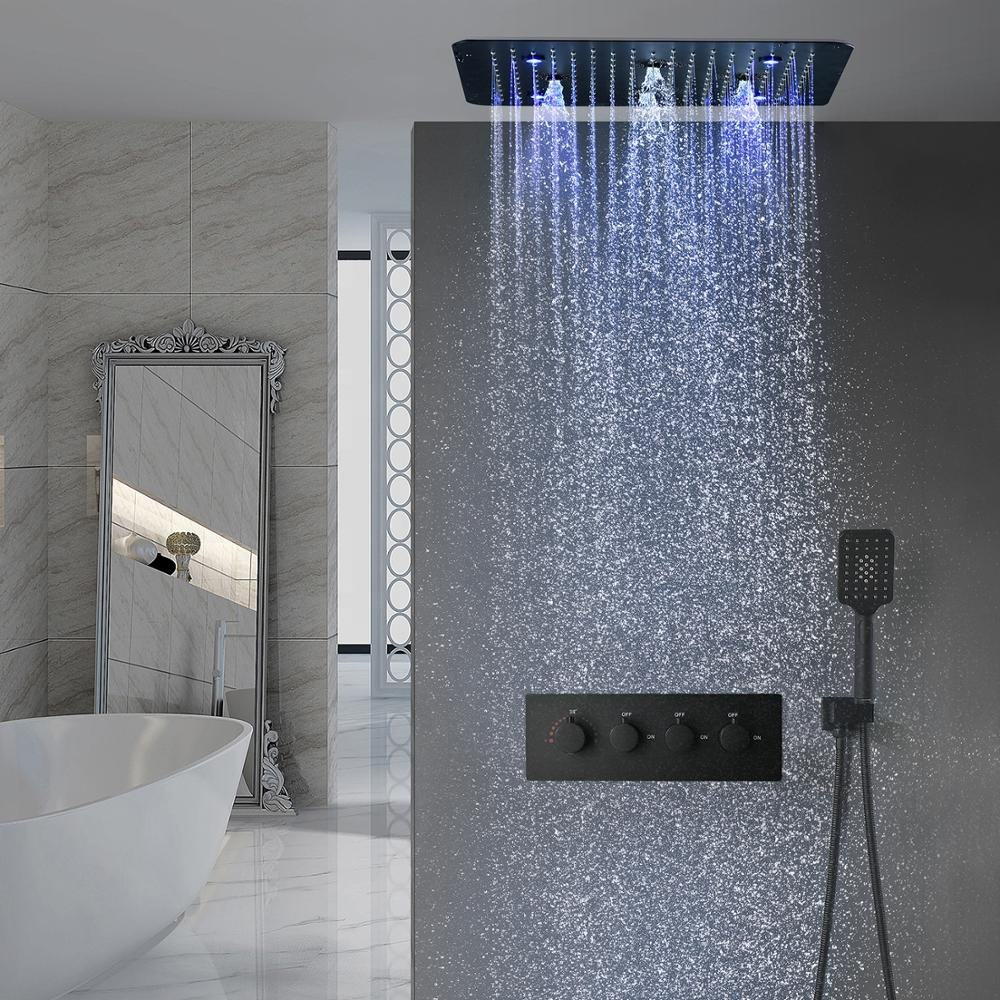 Bath Black Shower Set Colorful LED Multi Function Mist Spray Massage Thermostatic Shower Head Panel Matte Black Shower Faucet