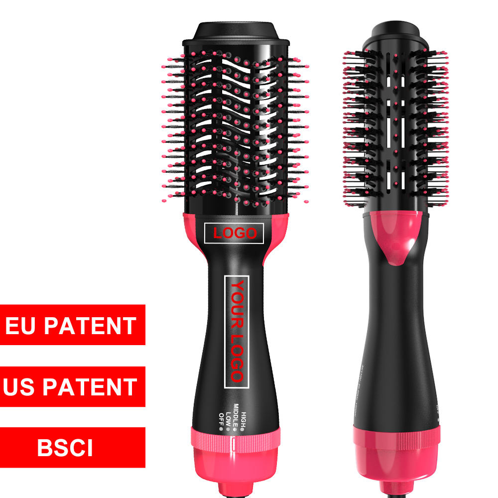 One step Hair Dryer and Volumizer Hot Air Styling Brush Negative Ion Generator Hair Straightener Curler