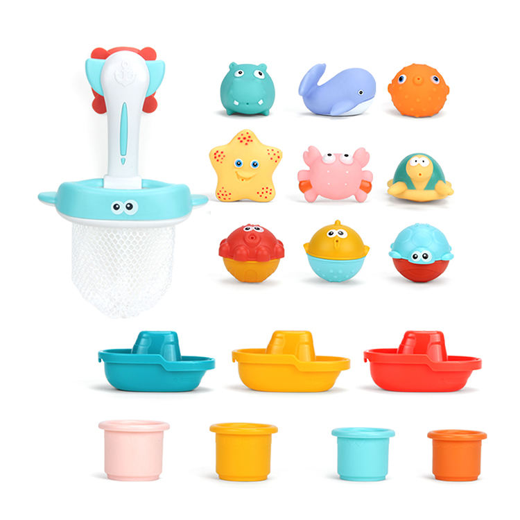 Bath tub stacking boat infant baby educational silicone bath sale baby toys for kids