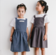 Wholesale Nordic Children Cleaning Apron 3-7 Years-Old Kids Cotton Line Baking Painting Art Keep Clean Student Bib Overalls