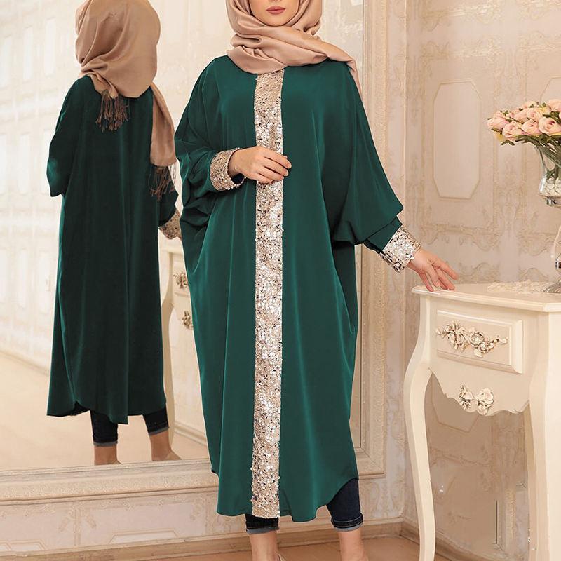 2020 Hottest Paillette Batwing Sleeve Muslim Abaya Muslim Dresses Islamic Clothing Dubai Muslim Abaya