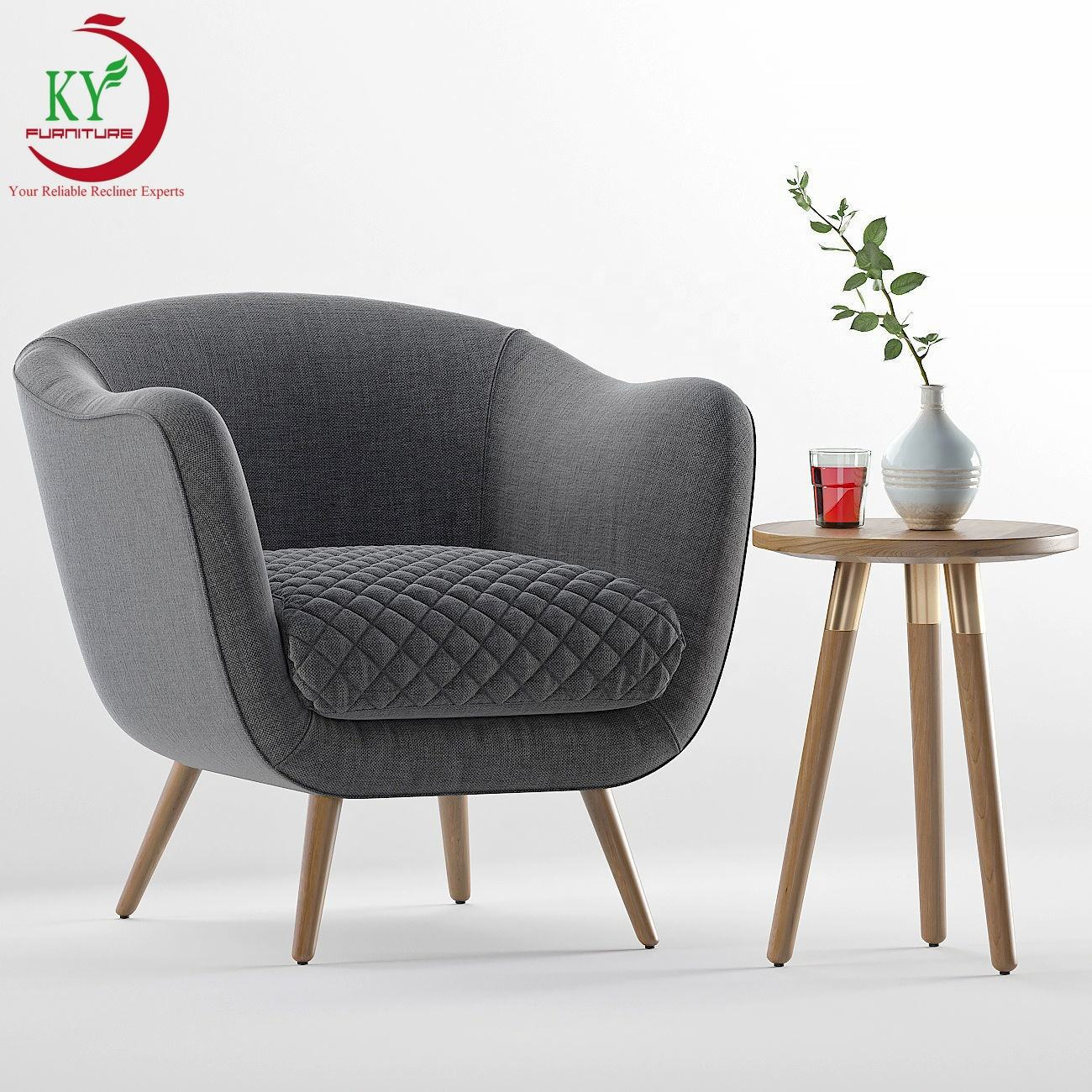JKY Furniture Modern Design Fabric Accent Tub Chairs with Wooden Legs for Living Room Occasional Armchair