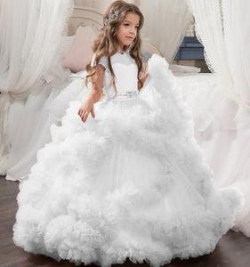 latest designs 3D white flower girl dresses 2019
