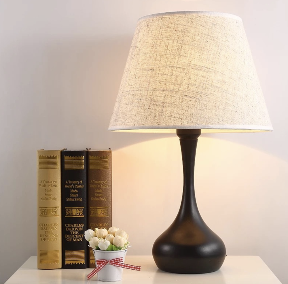 Simple Fabric Shade Bedroom Nightstand Reading Modern Table Wood Bedside Lamp for Living Room