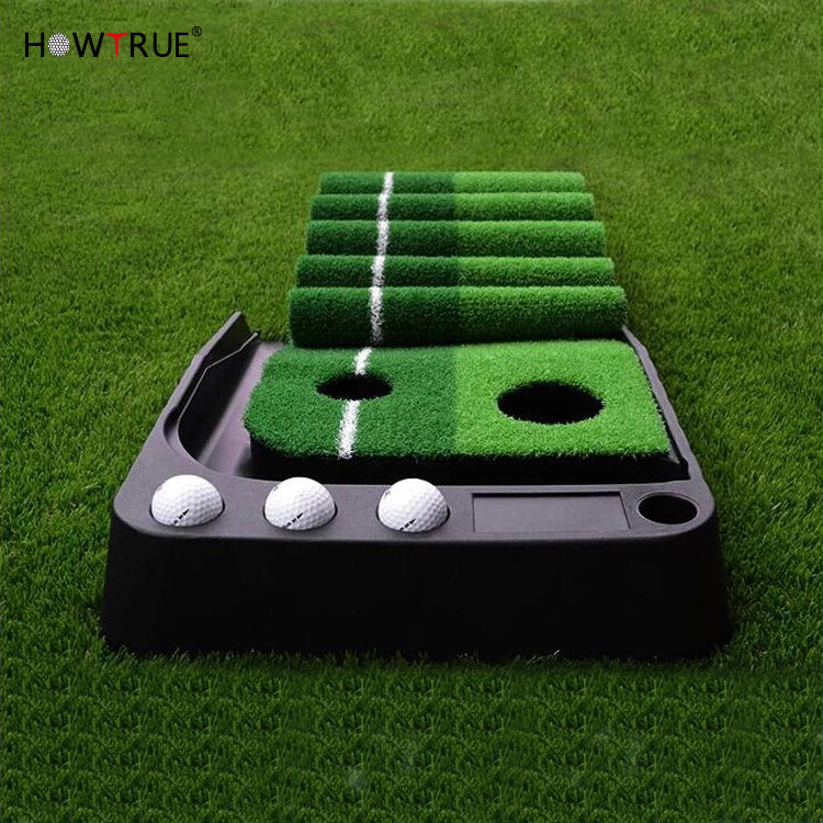 Wholesale Golf Putting Mat Green Golf Training Aids Indoor Outdoor Auto Ball Return Professional Portable Putting Trainer Set