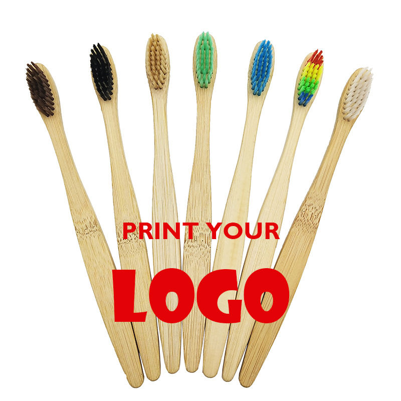 free custom logo bamboo handle colorful medium soft bristles bamboo toothbrush