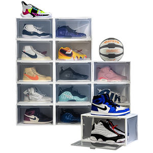 Black Big Magnetic Foldable Drawer Type Transparent Stackable Custom Clear Shoe Box For Giant Large Adidas Nike AJ Sneaker Shoe