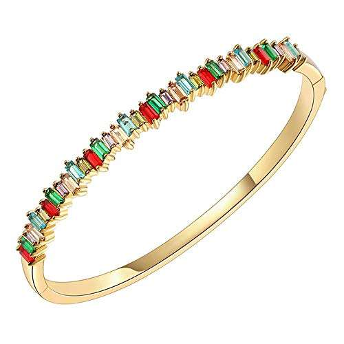 "O.B.Jewelry-Hinged Bangle Bracelet Rhodium Plated 4mm CZ Single Row Prong Multi Color 7"" Women Jewelry Bangle"