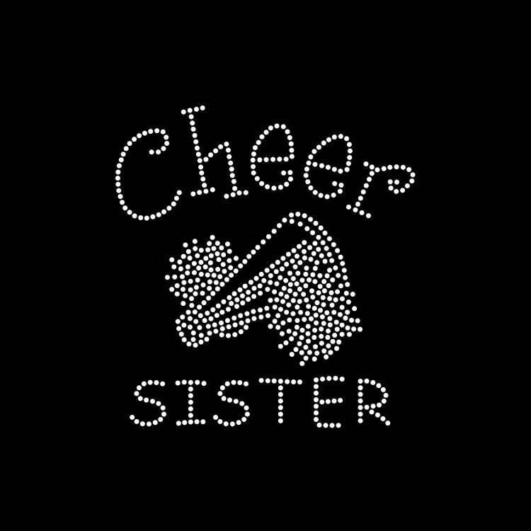 Custom Cheer Sister Design Hot Fix Rhinestone Transfer For T-Shirt