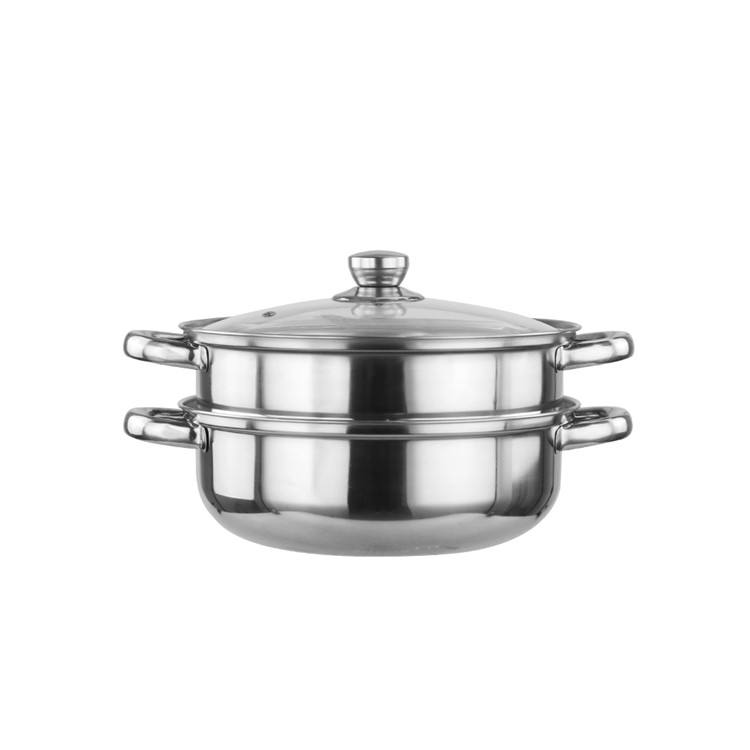 Wholesale double layer cookware stainless steel stock steamer pot with glass lid