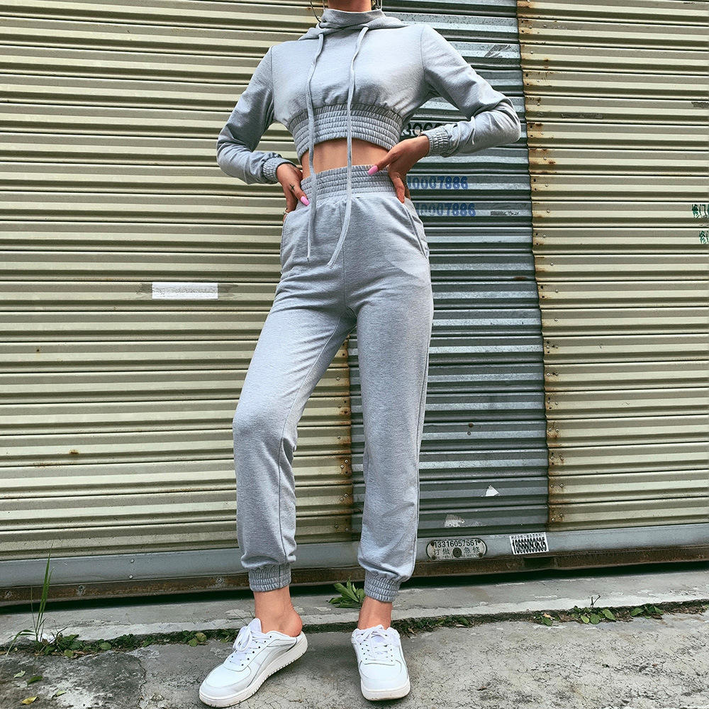Long Sleeves Crop Top 2 Two Piece Set Women High Elastic Fitness Tracksuit Woman Skinny Slim Leggings Sports Wear Suit