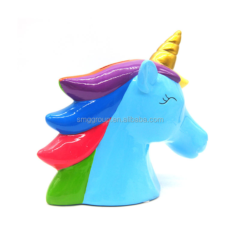 Ceramic Cute OEM Gifts Unicorn Money Bank for Home Decor